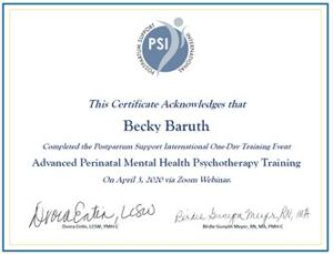 Certificate of training in Advanced Psychotherapy