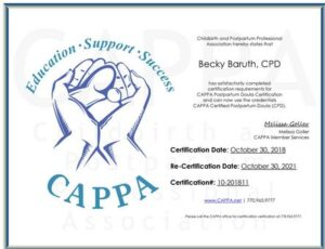 Certificate for Becky Baruth Certified Postpartum Doula
