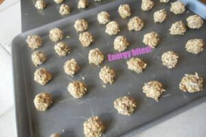 pan of homemade granola energy bites