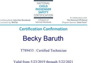 Certificate for Becky Baruth for Child Passenger Safety Technician