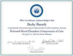 Certificate of Perinatal Mood Disorders training