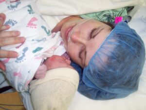 mother and baby after c-section birth