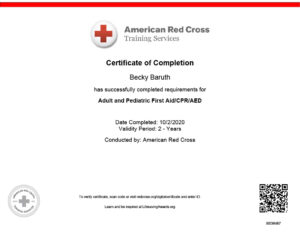CPR Certificate for Becky Baruth
